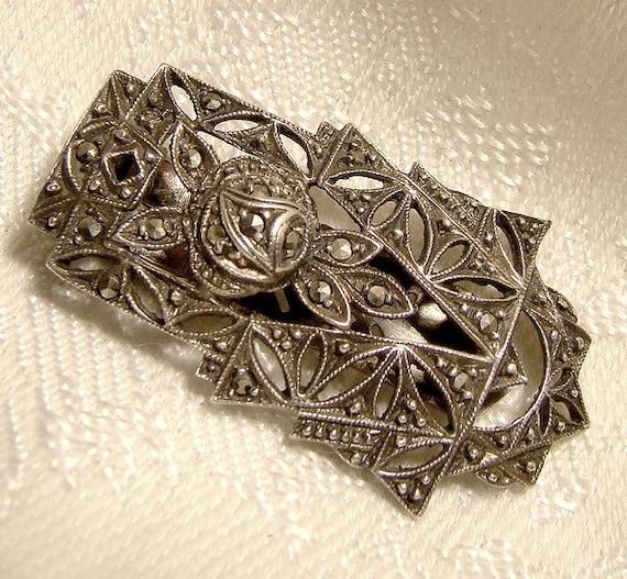 Art Deco Sterling Silver Marcasite EVENING DRESS C