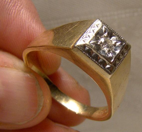 Man's 10-14K Yellow and White Gold Diamond Ring 19