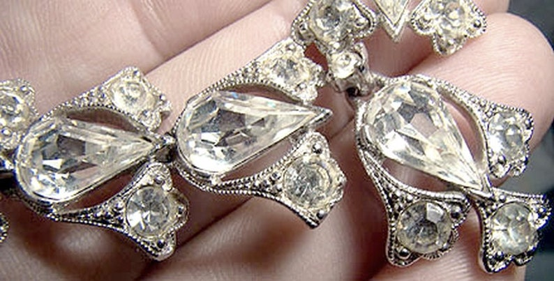 Bogoff Lavaliere Style Rhinestone Necklace 1940s-1950s