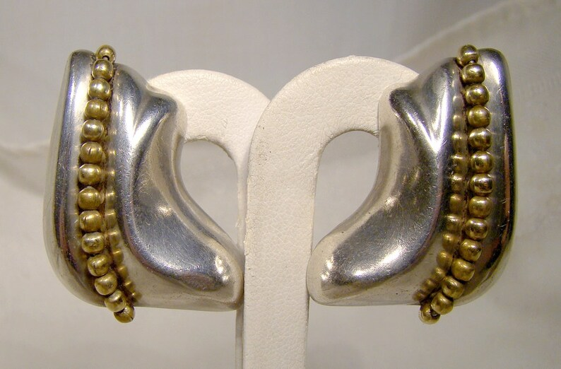 Pair Orquidia Mexico Sterling Silver and Gilt Brass Earrings 1980s