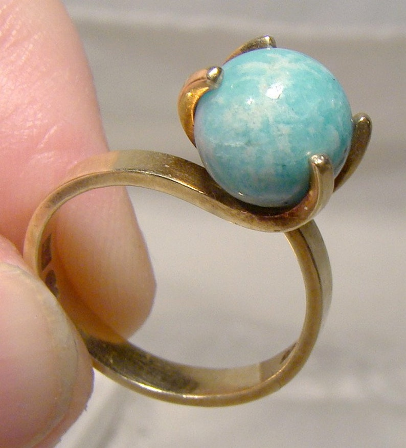 14K Yellow Gold Convertible Ring with Different Round Stones Chameleon 1970s-1980s  Size 5