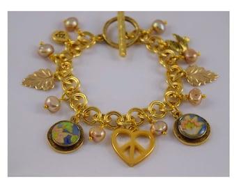 Upcycled Vintage English Tea Tin Gold-toned Charm Bracelet