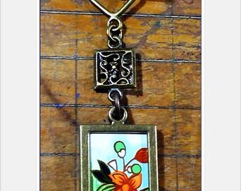 Vintage Tea Tin Necklace, Double-Sided Pendant