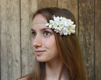 Wedding headband Off white azalea  flowers Three in one: corsage, necklace or headband Polymer clay flower