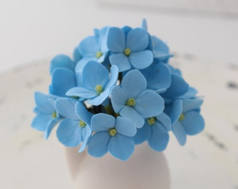Hair bobby pin polymer clay flowers. Set of 5.  light blue hydrangea - 5 with 3 flowers.