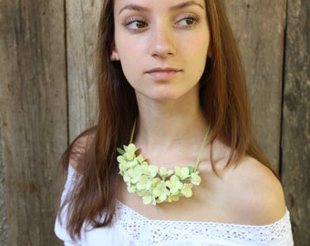 Light green hydrangea. Three in one: corsage, necklace or headband.