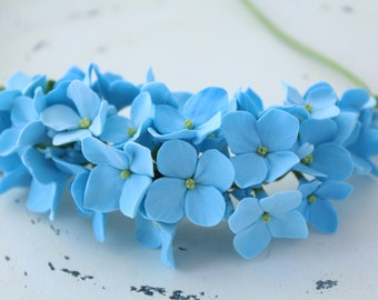Three in one: corsage, necklace or headband. Light blue hydrangea.  polymer clay flower. multi use