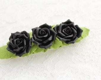 Hair barrette polymer clay flower  Three black roses