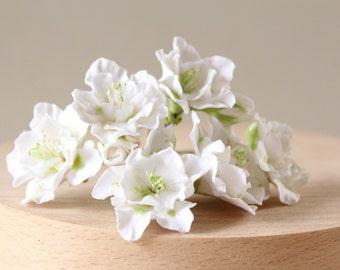 wedding white flowers for the bride hairstyles, flower girls , bridesmaid. Hair bobby pin flowers. White azalea. Set of 5.