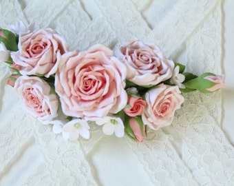 Pink peach roses in bud White small piece of hair color. Bride hair. wedding. Bridesmaid  Ready to Ship.