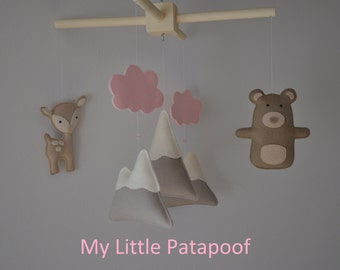 Baby Mobile - Pink Woodland