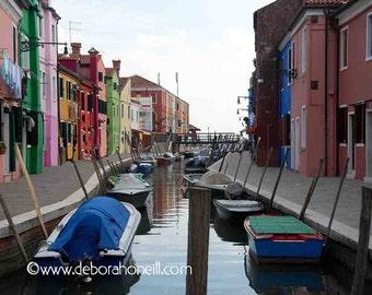 "Venice Photography ""Burano Island Waterway, Venice, Italy"""
