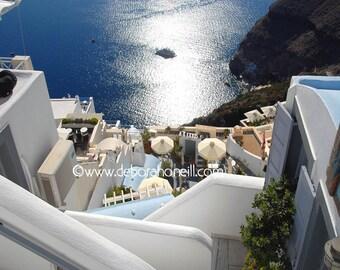 "Greece Photography ""Down to the Sea, Santorini, Greece"""