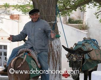"Greece Photography ""Donkey Man of Santorini, Greece"""