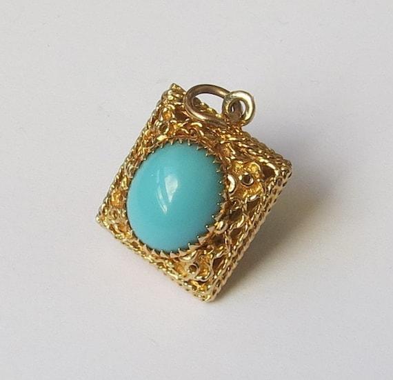 Vintage 14K Blue Stone Charm