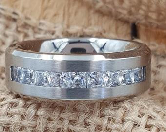cd0fbe531d Mens Titanium Ring Emerald Cut Cubic Zirconia CZ Eternity Silver Wedding  Ring Engagement Ring Mens Wedding Band Rings Promise Ring - AZ233