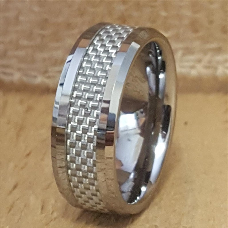 AZ221 Personalized Wedding Band Tungsten Ring Mens Promise Ring Tungsten Ring Mens Mens Tungsten Wedding Band White Carbon Fiber Ring
