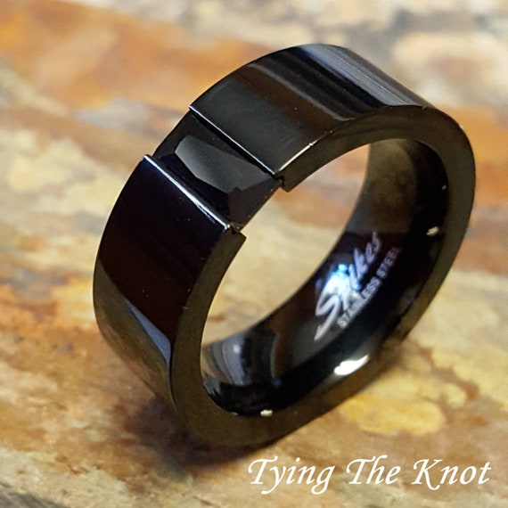 Mens Black Wedding Band Mens Wedding Ring Womens Wedding Etsy