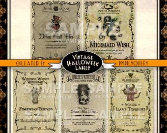 Wide Jar Halloween Label Set