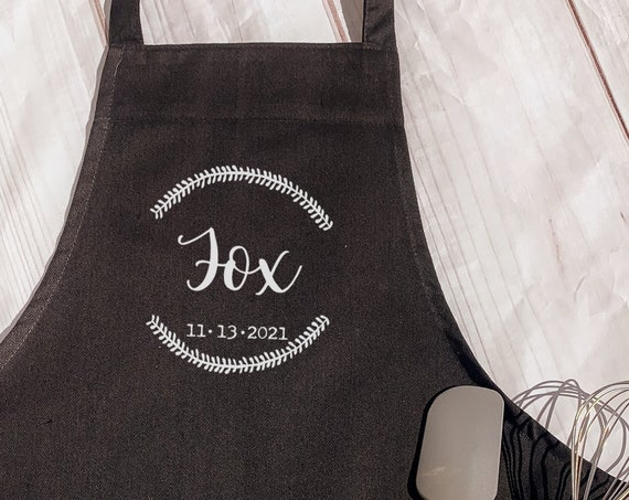 Last Name With Date Apron, Any Name Apron, Personalized Apron