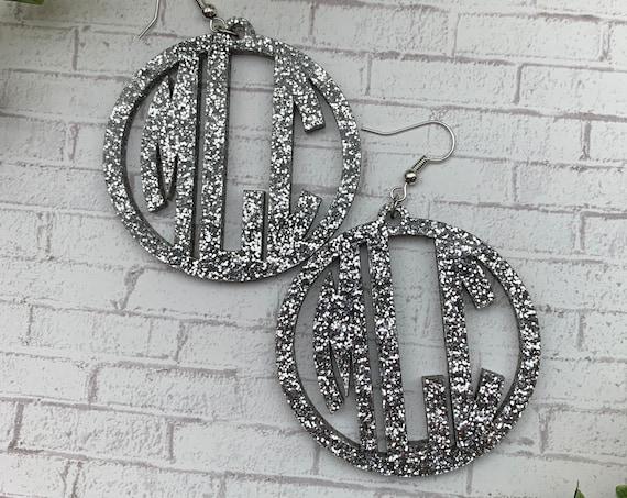 """Large Monogram Earrings - 2"""""""