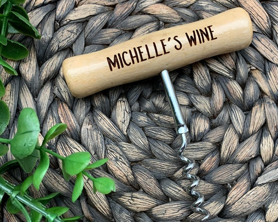 Personalized T-Style Wood Handled Stainless Steel Corkscrew