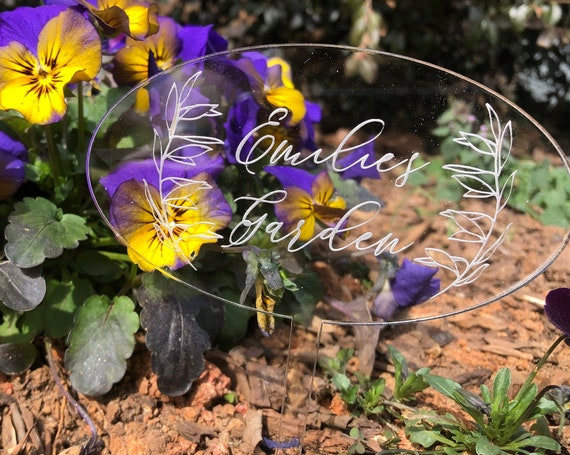 Garden Sign - Garden Marker - Personalize with any name, Gardener Gift - Delicate Garden Sign