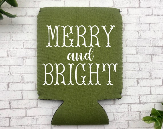Merry And Bright Can Cooler