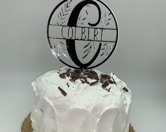 Last Name Cake Topper, Custom Monogram Cake Topper