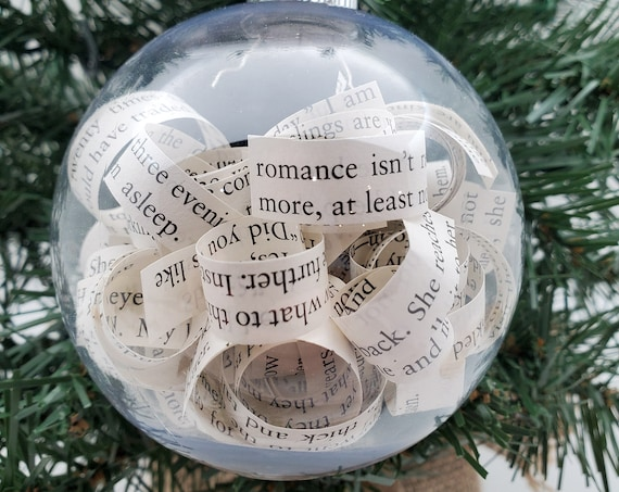 Book Christmas Tree Ornament, Bookworm Ornament, Reader Ornament, Used Book Ornament, Vintage Book Ornament