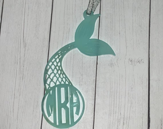 Mermaid Tail Monogram Christmas Ornament