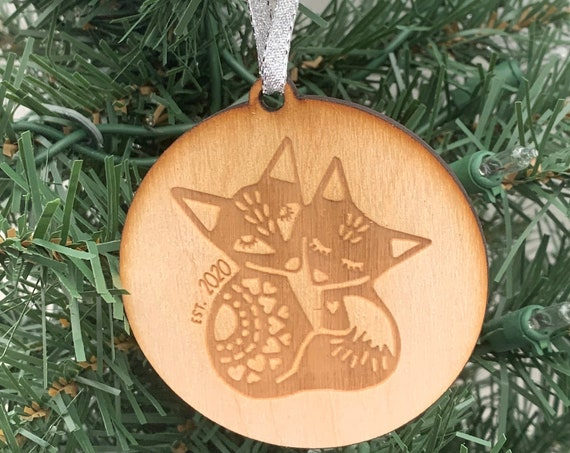 Two Foxes Ornament, Fox Couple Ornament, Nordic Fox