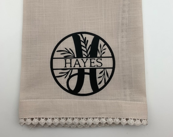 Monogram Kitchen Towel, Monogram Hand Towel