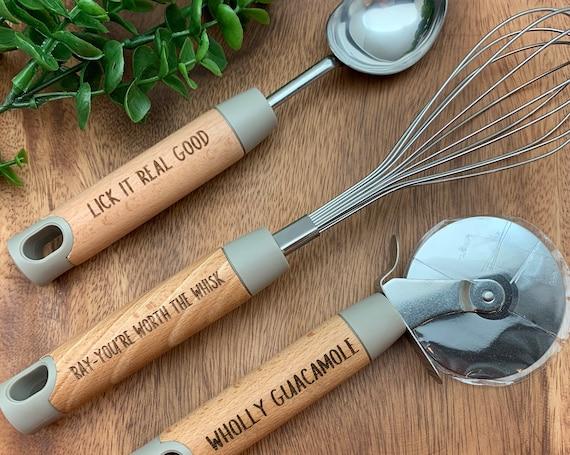 Custom Kitchen Set, Engraved Kitchen Set, Pizza Cutter, Ice Cream Scoop, Whisk