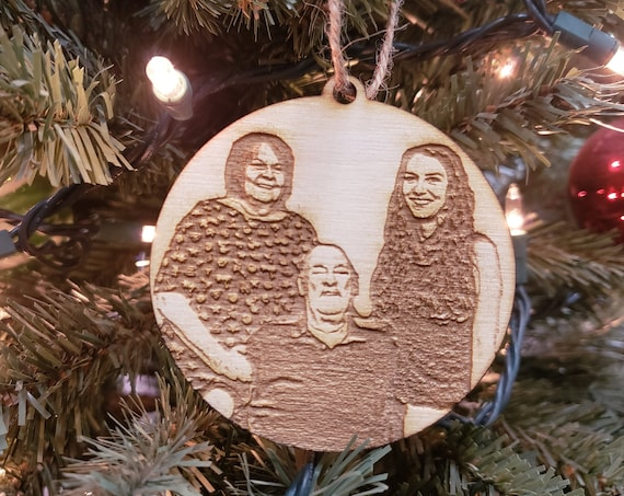 "3"" Custom Photo Ornament - Laser Cut and Laser Engraved Personalized Ornament"