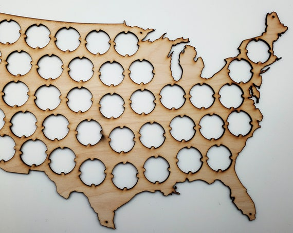 USA Beer Cap Map - Perfect for Wine Lover - Great Gift for Mother's or Father's Day