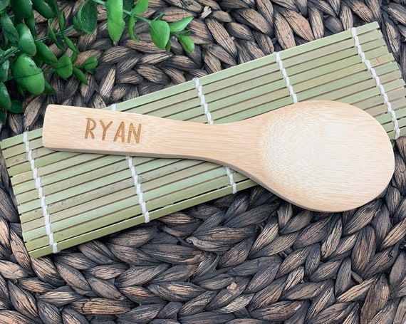 Sushi Mat With Engraved Paddle, Engraved Rice Paddle, Gift For Sushi Lovers, Personalized/Engraved Sushi Kit