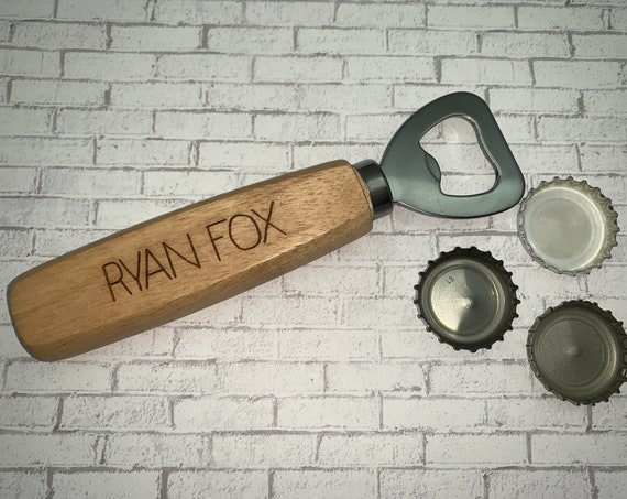 Personalized Bottle Opener - Wood Bottle Opener - Engraved Bottle Opener - Metal Bottle Opener - Bottle Top Opener - Bartender Tool - Beer