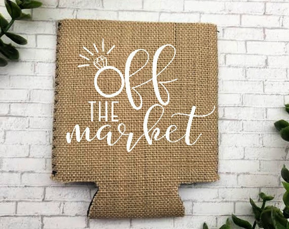Off the Market Can Cooler - Perfect for that bride to be or married friend - Tell the world that you are taken!