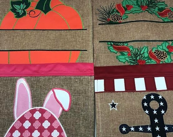 Seasonal Burlap Garden Flags