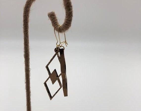 Onyx- Laser Cut Wood Earrings, Interlocked Geometric Earrings, Wooden Boho Earrings, Intricate Statement Earrings