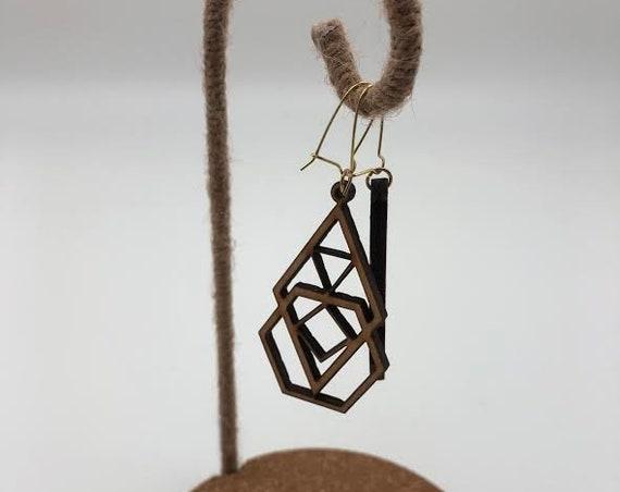 Salem- Laser Cut Wood Earrings, Stacked Shapes Geometric Earrings, Wooden Boho Earrings, Intricate Statement Earrings