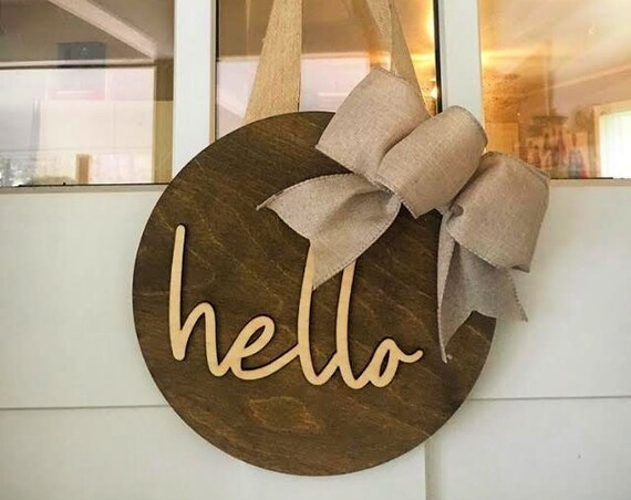 Hello Door Sign, Wreath For Front Door, Modern Door Decor, Hello Sign, Circle Door Hanger, Front Door Decor, Year Round Wreath