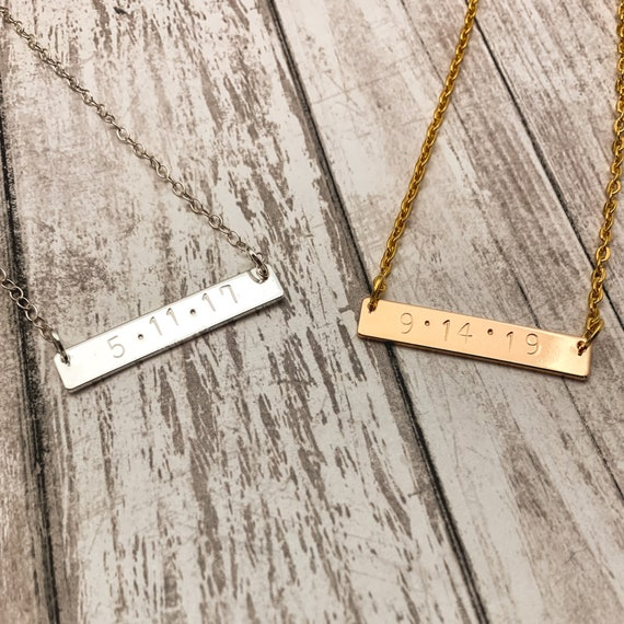 Personalized Metal Stamped Bar Necklace - Custom Bar Necklace - Gifts For Her