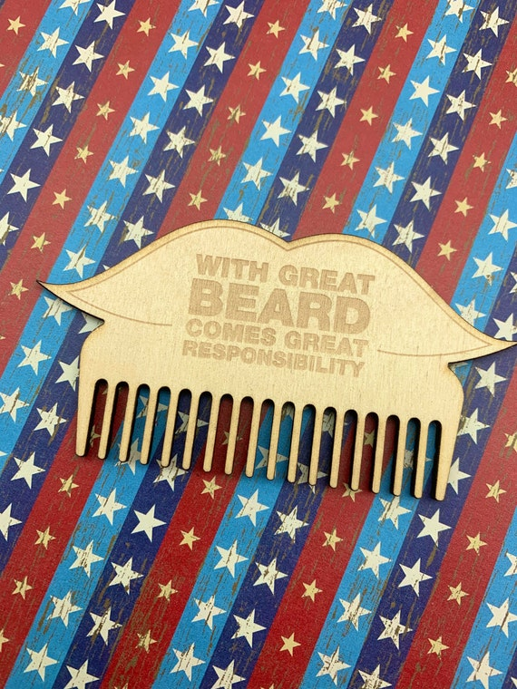With Great Beard Comes Great Responsibility Beard Comb - Wood Comb - No Shave November - Bearded Man - Mustache Comb - Engraved