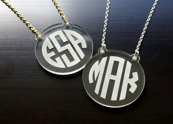 Crystal Clear: Engraved Acrylic Monogram Necklace with Script or Circle Font