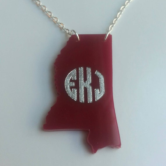 Personalized Monogrammed Acrylic State necklace (any state!) - with gift box!