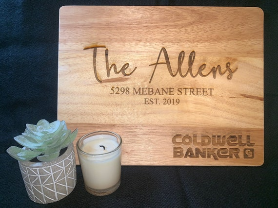 Family Name and Address  - Cutting Board - Perfect for Real Estate Agent or REALTOR housewarming gift