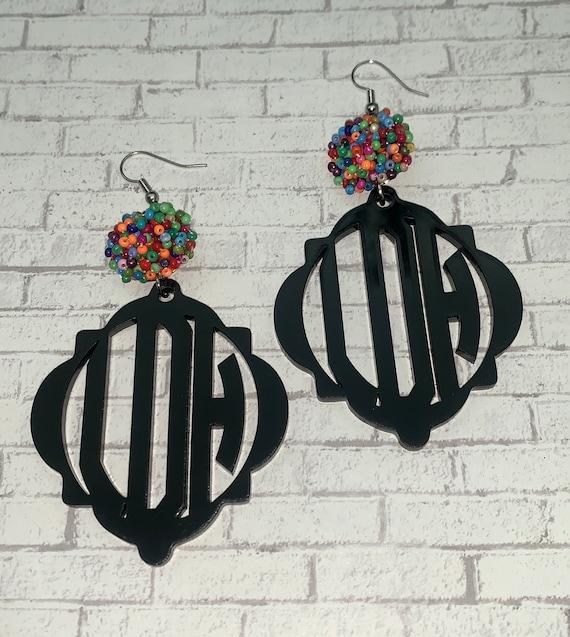 Quatrefoil Monogram Earrings with Beaded Pom Poms