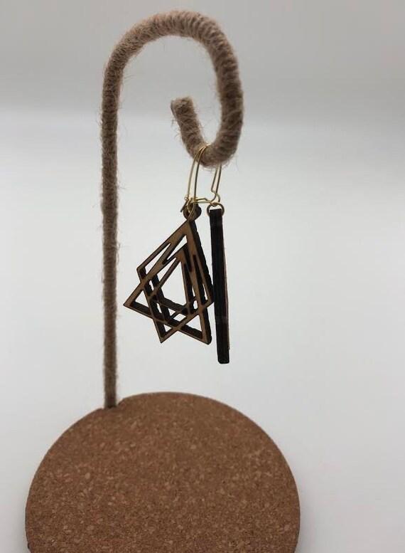 Occult- Laser Cut Wood Earrings, Stacked Shapes Geometric Earrings, Wooden Boho Earrings, Intricate Statement Earrings